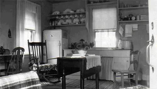 An interior view of Mr. Rehill's living quarters circa 1950.