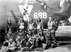 Sergeant Howard Thornton, (standing far right) was a member of a B-24 bomber crew during World War II.
