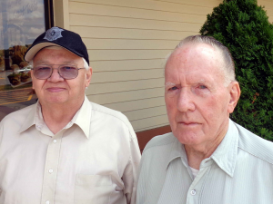 Retired Smithfield police officers, Ray Trombley, (Left), and Jim McVey, (Right), recall what it was like to serve and protect in a time before modern police technology.