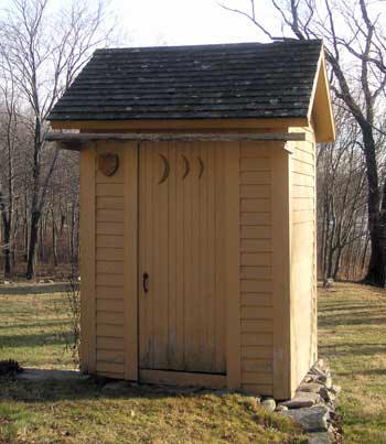 Before the days of indoor plumbing, this privy served  the needs of the Smith-Appleby House residents. It was restored by Howard Lebeck in 1988.
