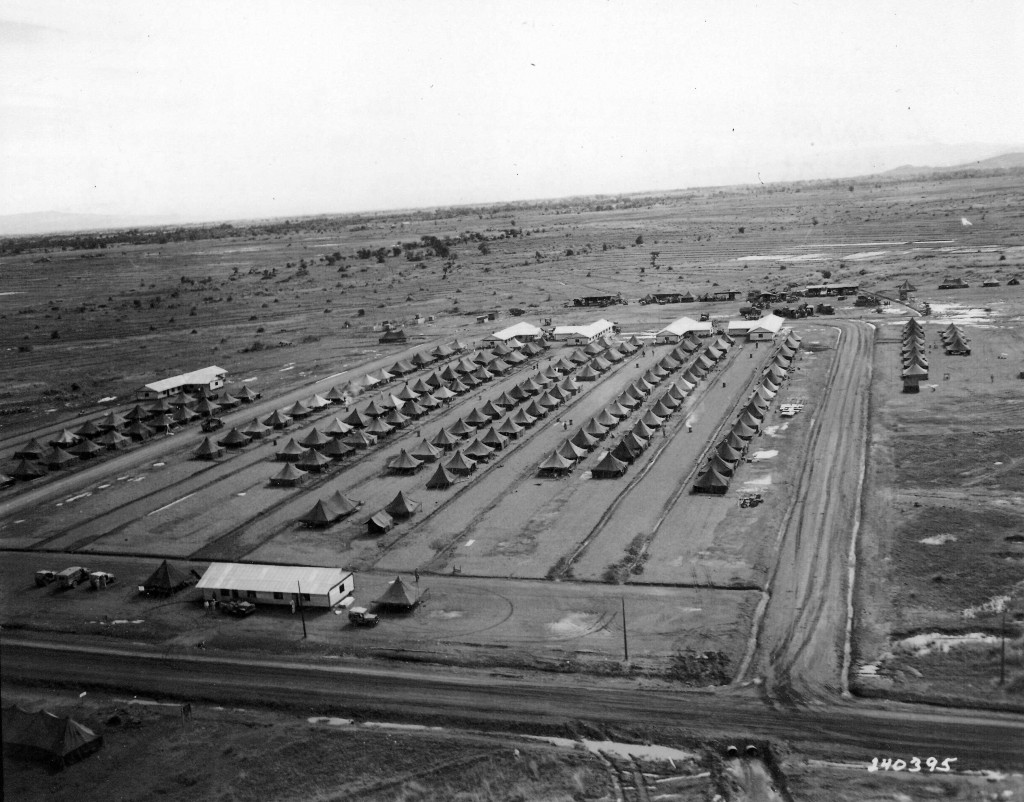 An aerial view of Camp La Croix on the island of Luzon.  The camp was named in honor of Sergeant Lawrence J. La Croix of Georgiaville.  (U.S. Army photo.)