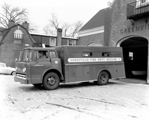 This Greenville rescue truck was one of the many pieces of fire apparatus that answered the call for help when disaster struck on the Glocester-Smithfield town line in 1962. Photo by Elwood Kelley, courtesy of John Tucker.