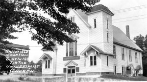 The former Universalist Church in Georgiaville became Smithfield's first official Town Hall, but only after much debate, and a vote to divide the town! (Historical Society of Smithfield photo.)