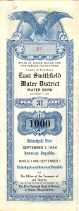 A $1,000 water bond issued by the East Smithfield Water District in 1937.
