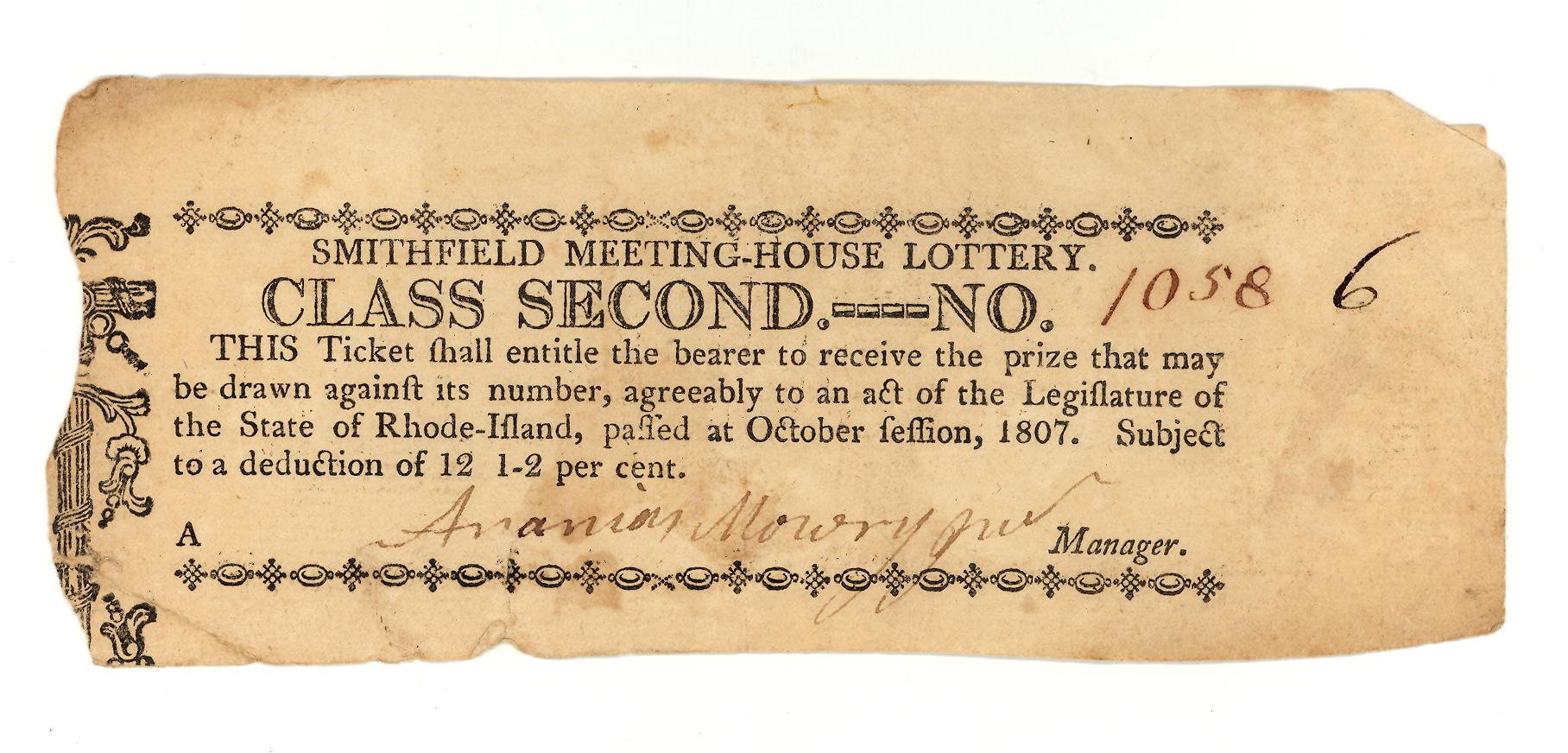 1807 Smithfield Lottery 2nd Class